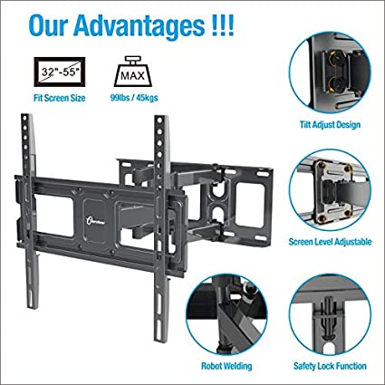 132lbs Loading-by EVERVIEW Max VESA 600X400 Tilt Full Motion Swivel Dual Articulating Arms Bring Perfect Viewing Angle TV Wall Mount Bracket fits to Most 37-70 inch LED,LCD,OLED Flat Panel TVs