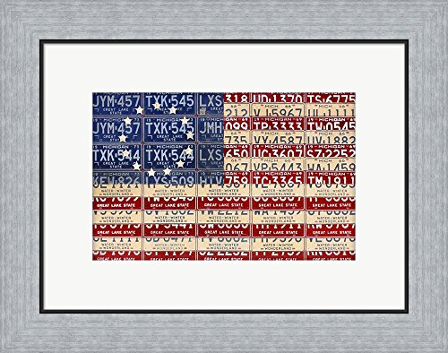 Betsy Ross Flag by Design Turnpike Framed Art Print Wall Picture, Flat Silver Frame, 21 x 16 (Betsy Ross Flag Picture)