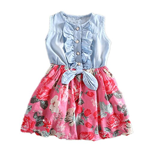 Vicbovo Clearance Sale!! Little Girl Dress, Floral Print Sleeveless Denim Dresses Summer Clothes for Kids Toddler Baby Girl (Red, 6-7Y)