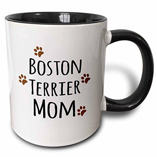 3dRose 154081_4 Boston Terrier Dog Mom Mug, 11 oz, Black