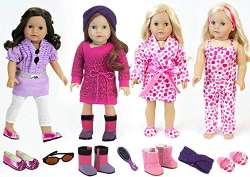 Sophia's Pink and Purple Doll Clothes Plus Complete Doll Accessory Set for 18 Inch American Dolls | 13 Pieces Include 3 Complete Doll Outfits of PJ's, Doll Shoes, Doll Hair Brush, Sunglasses and More! (My Life Doll Gray Boots)