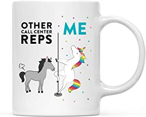 Andaz Press Funny Quirky 11oz. Ceramic Coffee Tea Mug Thank You Gift, Other Call Center Reps Me, Horse Unicorn, 1-Pack