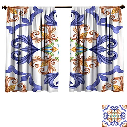 Abstract Lihgtproof Curtains, Classic Pattern Antique Mosaic
