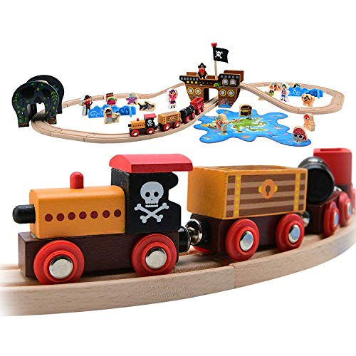 Wooden Pirate - Pidoko Kids Pirate Theme Wooden Train Set - 72 Pcs - Includes Magnet Fishing Poles - Set compatible with all major brand tracks and trains