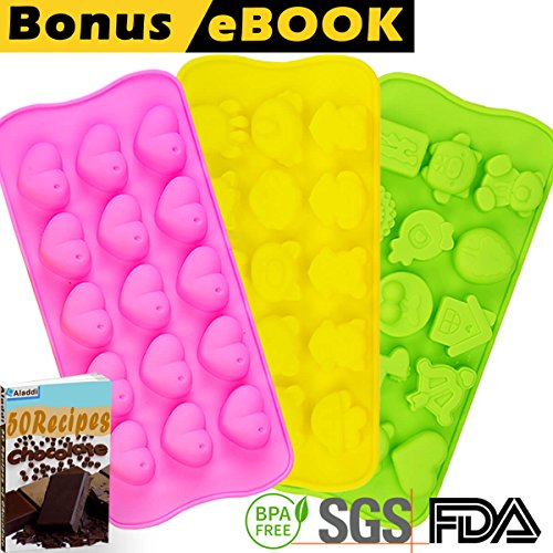 Silicone Chocolate Candy Molds | Jelly Gummy Pudding Ice Cake Soap Ganache Baking Mold | Bonus eBOOK + Small Bags + Spatula | Non stick BPA free Professional Decorating | Set of 3 Many Cute Shapes