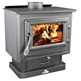2000 21'''' Log Length Firebrick Lined Medium Wood Burning Stove with Large Viewing Window and Air Wash Glass in Black Finish