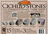 Underwater Galleries Ceramic Cichlid Stones, 3 Different Size Variety Pack, 15 Total Stones