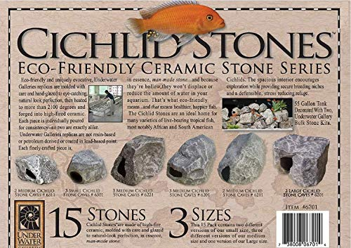 Underwater Galleries Ceramic Cichlid Stones, 3 Different Size Variety Pack, 15 Total Stones Review