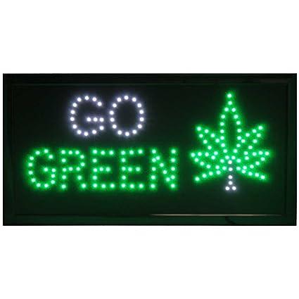 Amazoncom Go Green Marijuana Leaf Led Display Sign Home Kitchen