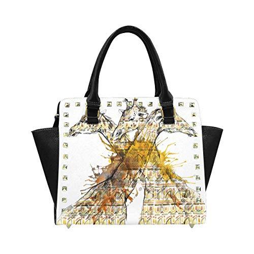 InterestPrint Ladies Designer Giraffe Sketch with Ethnic Pattern African Ornament Animal Print Shoulder Bags Satchel Messenger Tote Bag