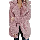 Wobuoke Womens Ladies Winter Autumn Warm Artificial Wool Fashion Loose Coat Jacket Lapel Outerwear