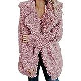 PENGYGY Womens Artificial Wool Coat Lapel Zipper Jacket Ladies Warm Winter Oversized Parka Outerwear