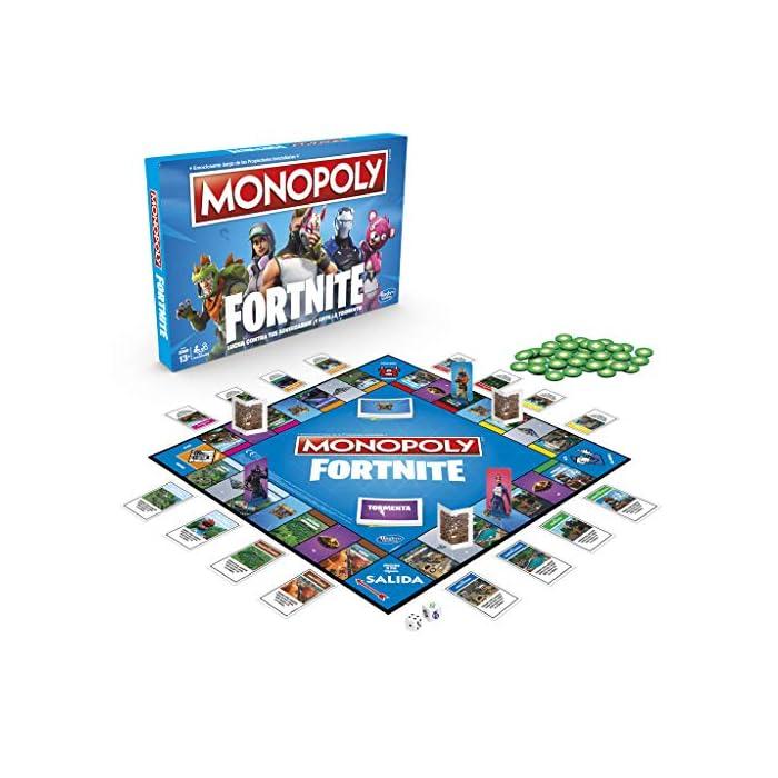 51sq6JAqvrL Monopoly - fortnite (hasbro e6603105) Para los fans de fortnite: en este juego monopoly, basado en el popular videojuego fortnite, los jugadores se apoderan de lugares, luchan en contra de sus oponentes y evitan la tormenta para sobrevivir; el último jugador en pie gana Propiedades fortnite y puntos de vida: la edición fortnite del juego monopoly presenta los lugares del videojuego como propiedades; además, los jugadores tienen el objetivo de ganar puntos de vida en vez de dinero monopoly para mantenerse en el juego