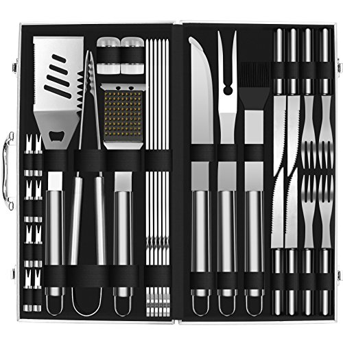 Doatry BBQ Grill Tools Set with 35 Barbecue Accessories – Stainless Steel Grill Utensils with Aluminium Storage Case – Complete Outdoor Grilling Kit for Family,Friend Colleague, Best Gift for Man