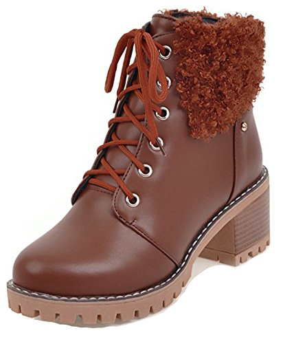 Aisun Womens Fashion Lace Up Inside Zip Up Mid Chunky Heels Round Toe Ankle Booties With Zipper Brown