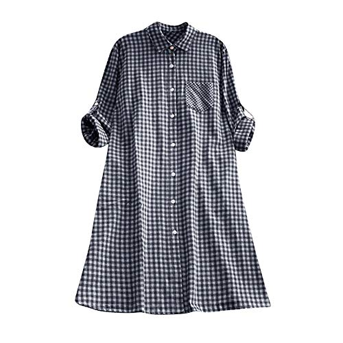 Price comparison product image ANBOO Loose Shirt Dress,  Women's Casual Plaid Plus Size Tunic Button Down Long Sleeve Pocket Shirt Dress (L,  Blue)