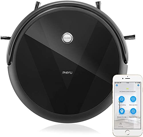 PHIYU Robot Vacuum Cleaner A3V Works with Alexa, App Controls Smart Path Planning, Robotic Vacuum Integrate Vacuuming, Sweeping and Mopping Good for Pet Hair Care on Hard Floors and Low Pile Carpet