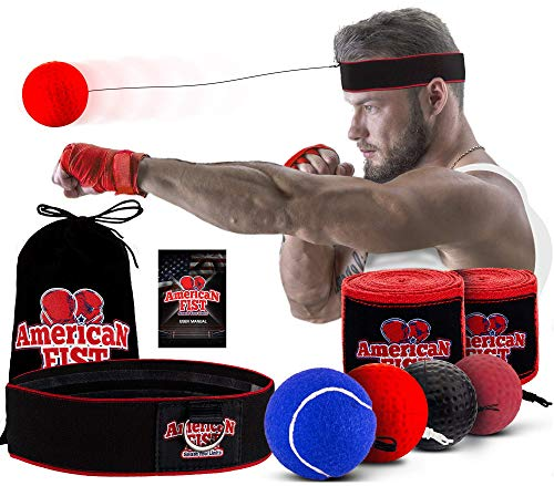 Boxing Reflex Ball Set, 4 Difficulty Level Training Balls On String, Punching Fight React Head Ball with Headband, Speed…