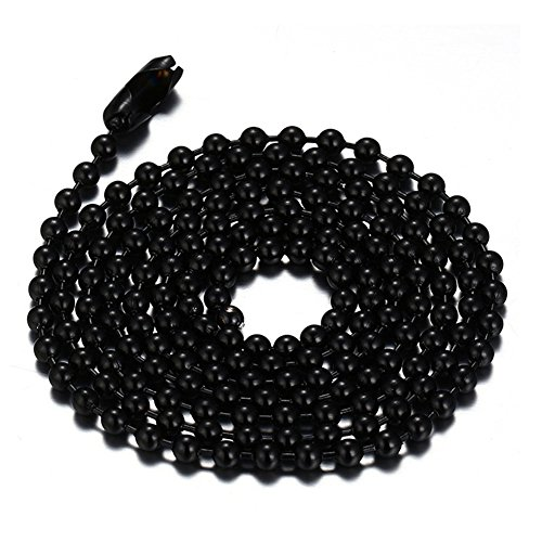 (SINLEO Titanium Stainless Steel Small Beads Ball Chain Necklace for Men Women 24-38 Inches Silver Black Gold (Black, 2.4mm wide,)