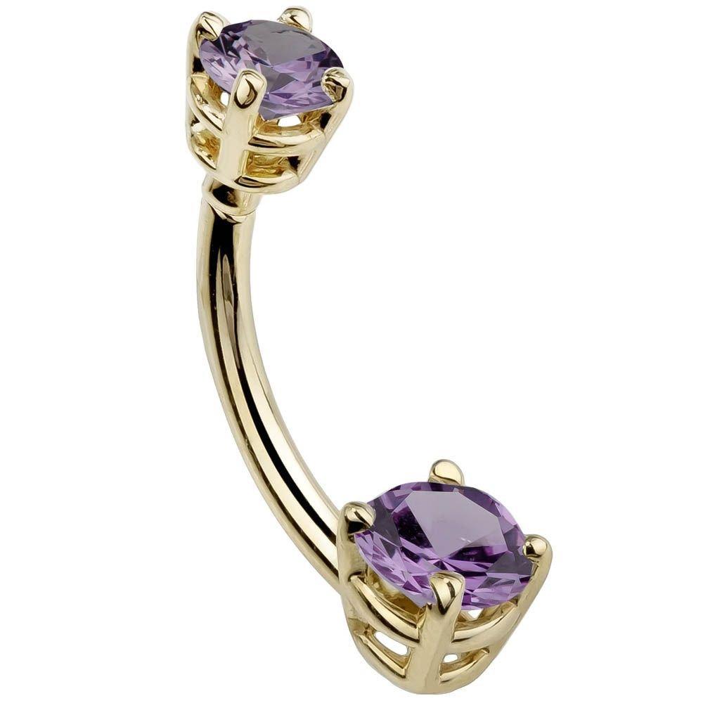 Light Purple Petite Round Cubic Zirconia 14K Yellow Gold Belly Ring