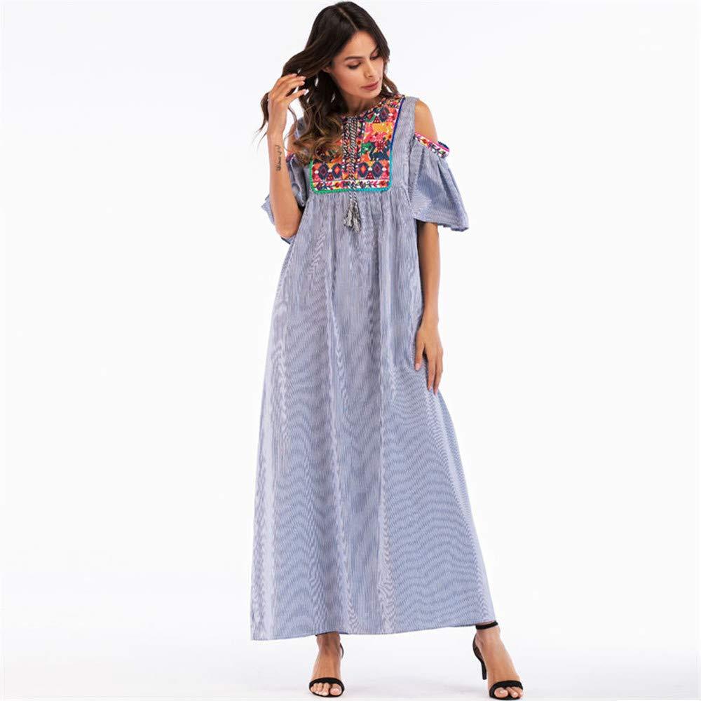 Cómodo Falda Larga Musulmana Estilo étnico Bordado Collage Sin Tirantes Vestido de Las Mujeres Elegante (tamaño : XXXL): Amazon.es: Hogar