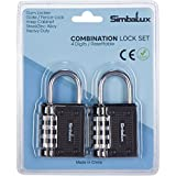 Combination Lock by SimbaLux (Set of 2): 4-Digit Thinner Padlock for Extra Security, Easily Resettable, Heavy Duty Steel/Zinc Alloy Lock - for Gym and School Locker, Toolbox, Gate, Fence, Luggage