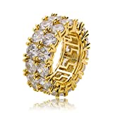 BESHINE 9mm 2 Rows 14K Gold Silver Plated Iced Out CZ Lab Diamond Eternity Wedding Engagement Band Ring (Gold, 10)
