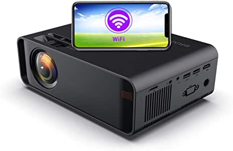 SOTEFE® Mini LED Projector Portable 6000 Lumens-WiFi Video Projectors 1080P Full HD For iPhone Samsung Smartphone Wireless Projector HDMI Office Home Theater Movie Connection HDMI/USB/VGA/AV/TF/SD Card (Black)