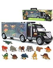 Jouet de Camion de Transporteur - Voiture de Jouets Dinosaure avec 12 Mini Dinosaures Animaux Jouets Porteur Camion de Dinosaure éducatif pour Enfants Garçons Filles 3 Ans