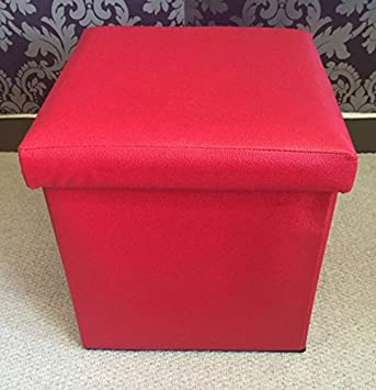Home Delights Red Faux Leather Ottoman Storage Box Footstool Pouffe Cube  Soft Seat