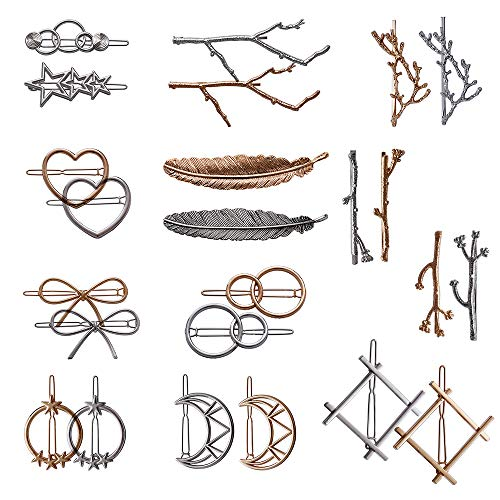24 Pieces Minimalist Dainty Hair Clip for Women, Tree Branch Gold Silver Metal Hair Barrettes, 13 Different Styles Hollow Geometric Hair Pins Hair Accessories by fani -