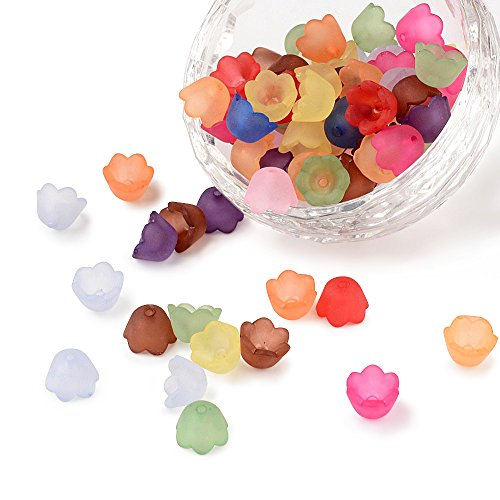 Pandahall 100pcs Mixed Frosted Acrylic Flower Bead Caps Spacer Beads Caps for Jewelry Making -