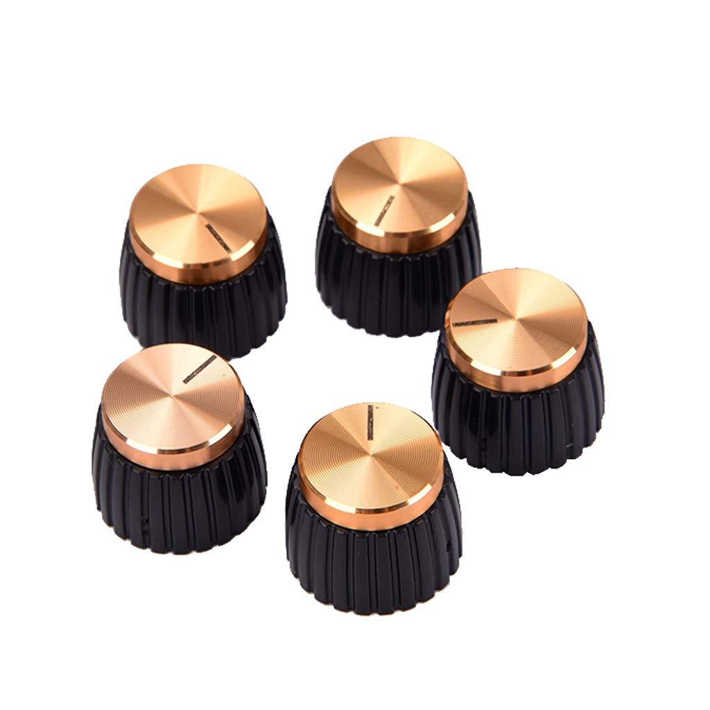 5pcs/Pack Aluminium Alloy Guitar AMP Amplifier Knobs Gold Top Non-brand c555dd997dee9ba02f821d5af46deea9