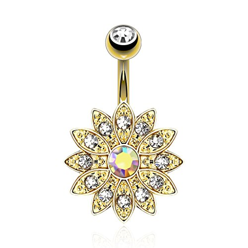 Inspiration Dezigns Paved Gems Flower with Center CZ 14kt Gold Plated Navel Ring (Clear/Aurora Borealis) ()