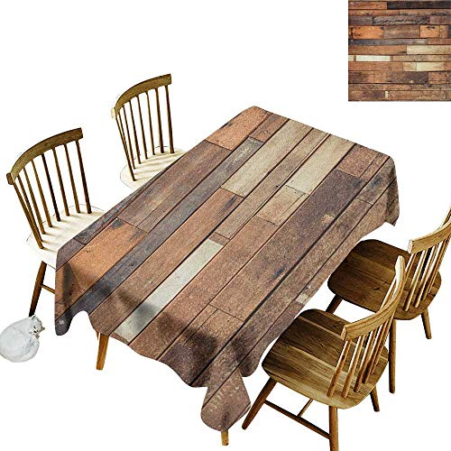 kangkaishi Elastic Edges fit The Rectangular Tablecloth Suitable for Most Home Decor Rustic Floor Planks Print Grungy Look Farm House Country Style Walnut Oak Grain Image W54 x L108 Inch Brown