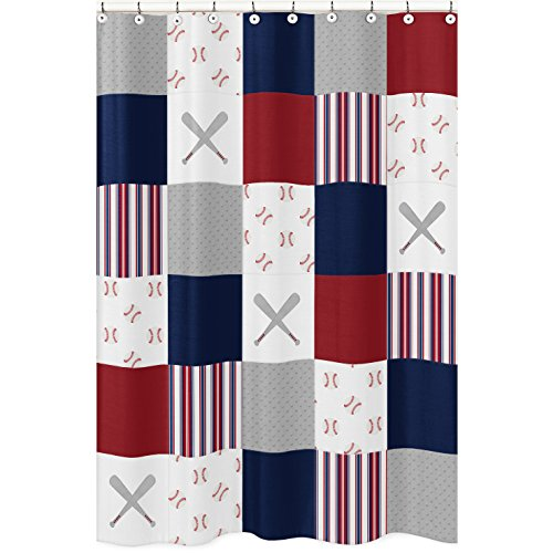 Sweet Jojo Designs Red, White and Blue Bathroom Fabric Bath Shower Curtain for Baseball Patch Sports Collection - Grey Patchwork Stripe