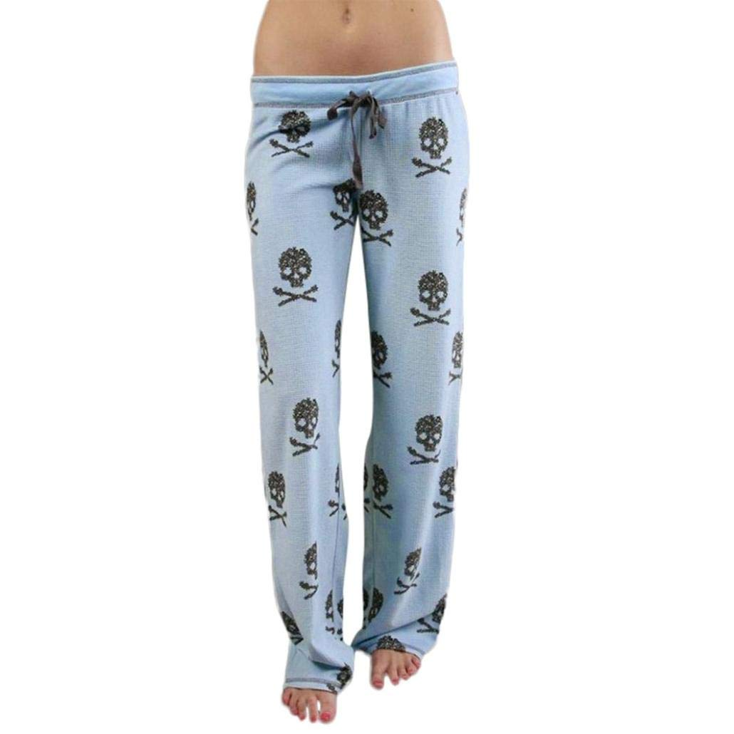 Baigoods New ! Women Lady Causal Daily High Waist Skull Print Wide Calf Length Long Leg Pants
