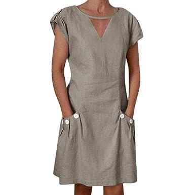 Amazon.com: Vestido de lino para mujer, estilo vintage ...