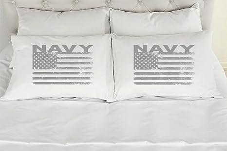 Amazon Set Of 2 King Military Couples Pillow Cases Navy