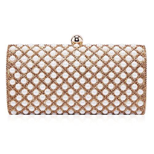 Damara Para Mujer Encantadora perla mosaico boda fiesta noche bolsa caja bolso de mano dorado