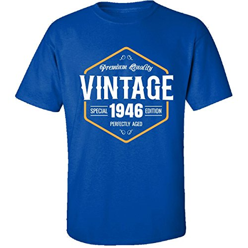 Vintage Born in 1946 Birthday Gift - Adult Shirt L Royal