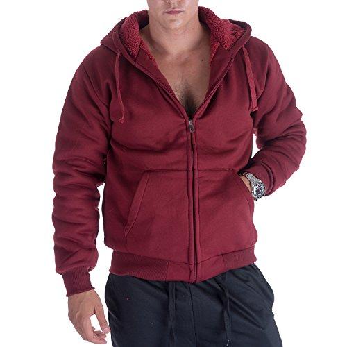 Gary Com Wine Sherpa Lined Fleece Hoodies For Men Zip Up Plus Size Long Sleeve Sweatshirt (L, Wine) (Sweater Lined Sleeve Long)