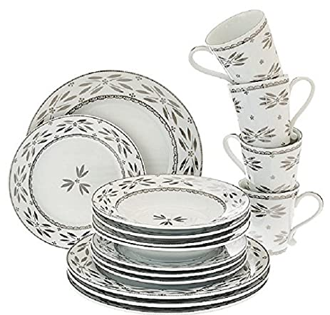 Amazon.com | Temp-tations 16-pc. Elite Dinnerware Set - Silver ...