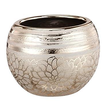 Napco Ceramic Gold Flower Ball Planter, 7.75