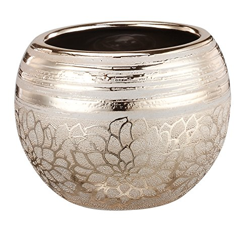 Napco Ceramic Gold Flower Ball Planter, 4