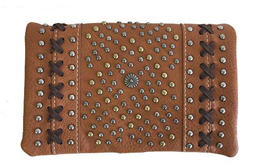 Crossbody West Wristlet American Bling Purse 4 Antique Brown Way Studs Looking Montana Clutch qTw4ET0S