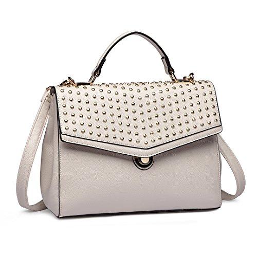 Handbags Crossbody Top Bag Leather Beige Pu Bag Stylish Satchel Women 1819 Longsun Handle Rivet YwCFAxq