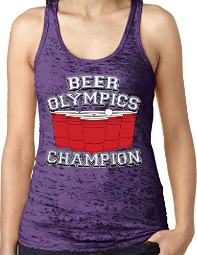 (Amdesco Ladies Beer Olympics Champ Burnout Racerback Tank Top, Purple Rush XL)