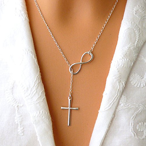 Chicer Lariat Necklaces with Silver Cross Pendant Short Jewelry for Women and Girls FSN-076