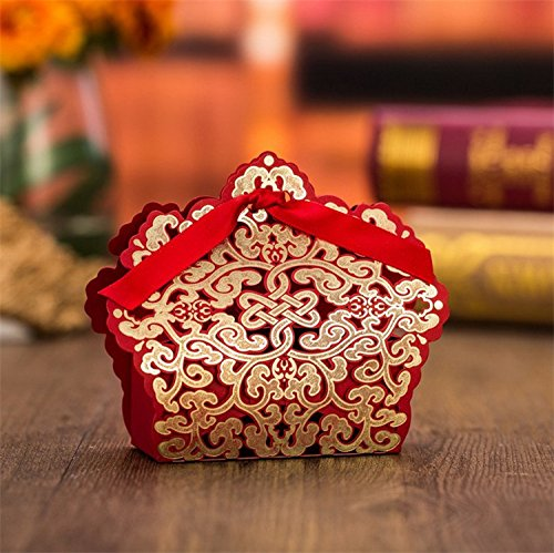 (Worldoor 50pcs Casamento Red Candy Bar Wedding Favors and Gifts Wedding Favor Boxes Wedding Candy Box Event & Party Supplies)